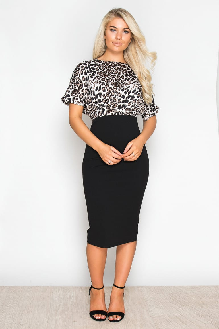 0dae9d879ab Clara Leo Print   Black Midi Dress