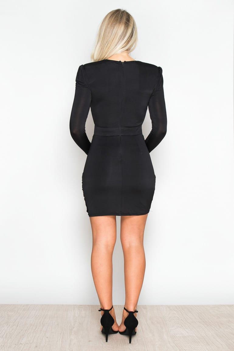 a6d00a3179c Celine Black Ruched Wrap Mini Dress