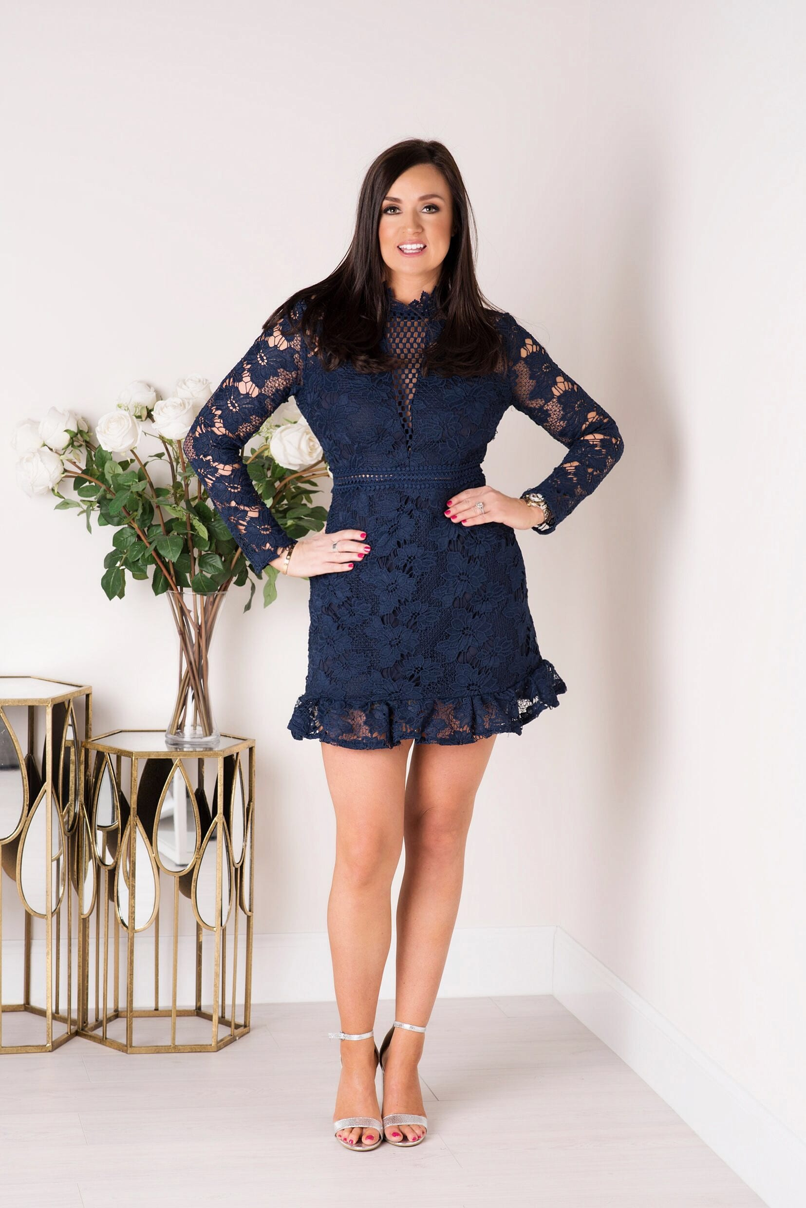 4c29b479ab3 Naomi Navy Lace Dress With Frill Hem And Cut Out Back