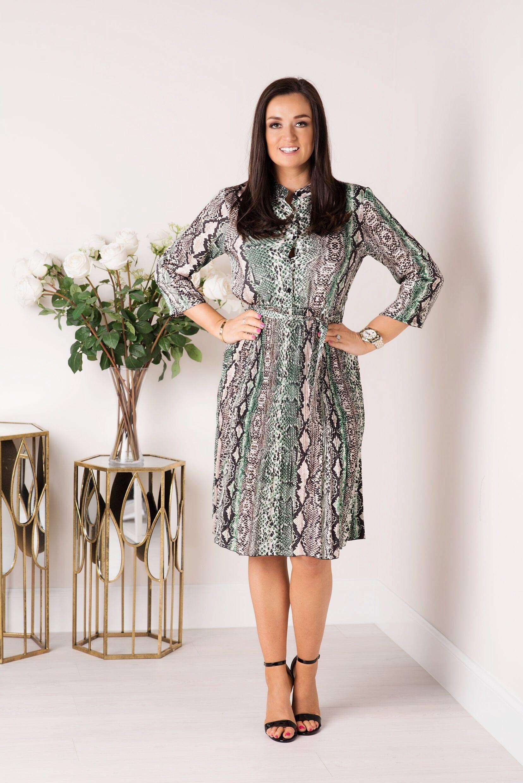 8c540b27179 Serena Green Snake Print Button Midi Dress