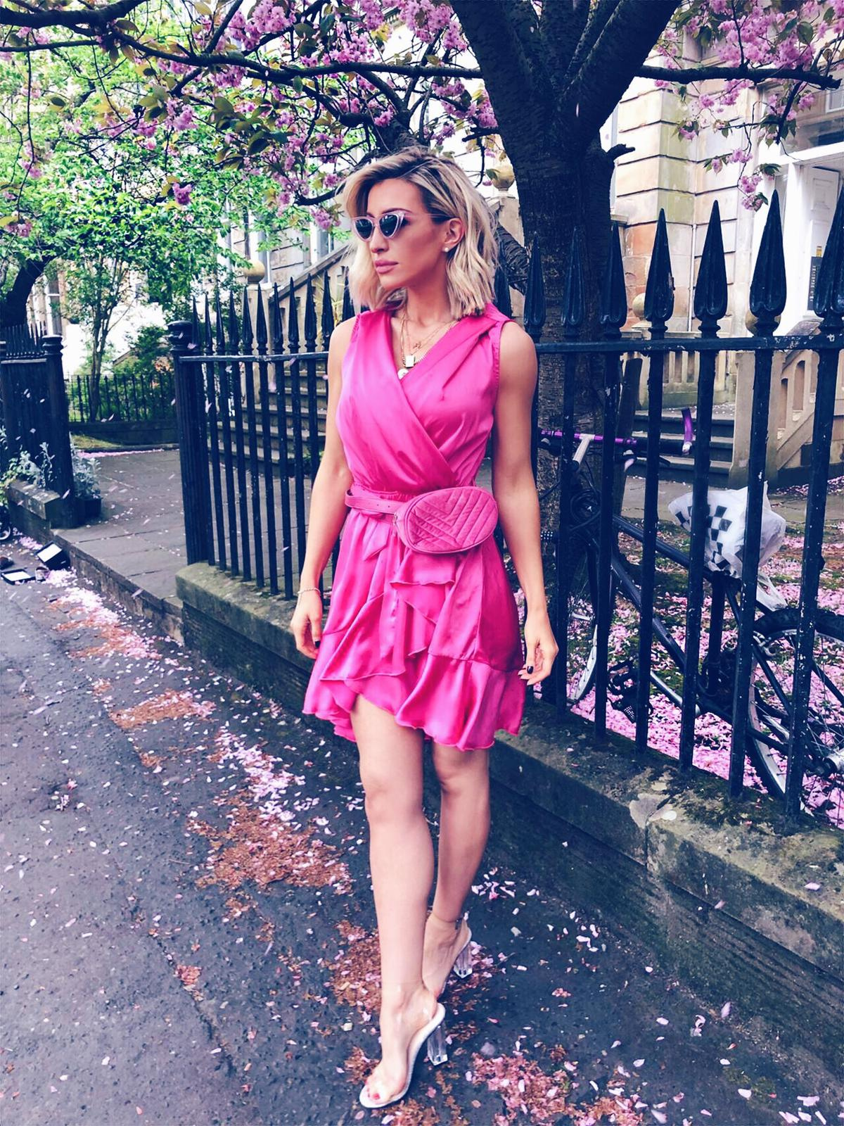 a54f862a3ba Libby Pink Silky Ruffle Dress