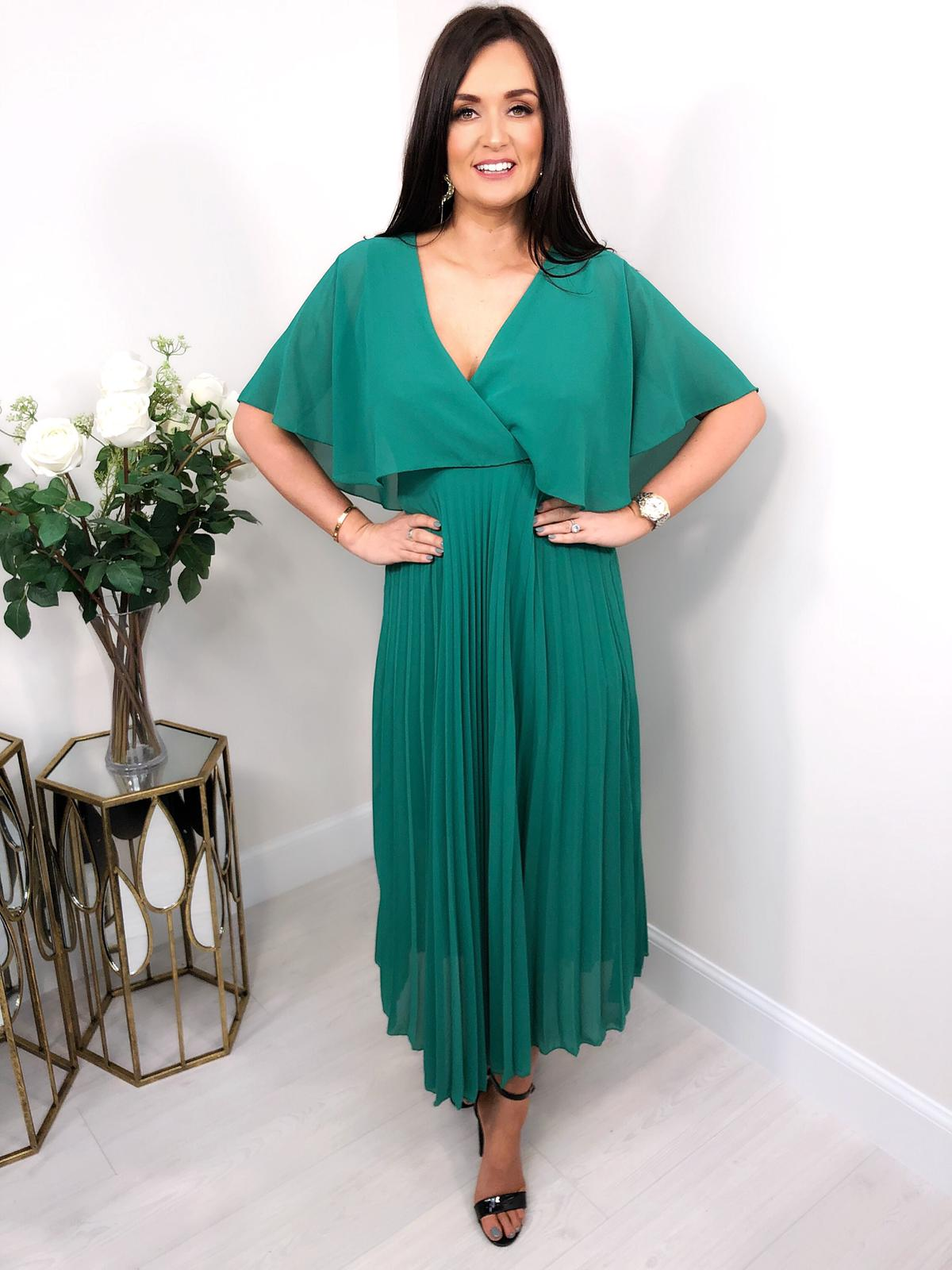df3b8dd240c Hollie Green Pleated Maxi Dress